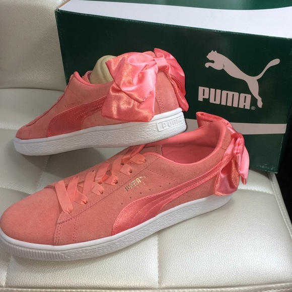Puma Suede Bow Shoes Shell Pink   Poshmark